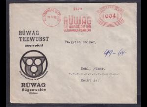 DR. Reklame-Brief, Rügenwalde Teewurst, Rüwag.