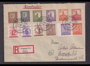 SBZ-West-Sachsen, R-Ortsbrief mit Mi.F. Mi.-Nr. 157y, 158y u.a., Sign. Dr.Jasch.
