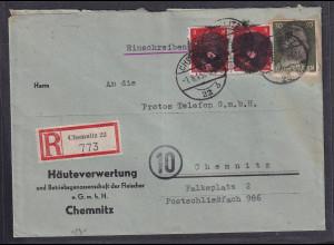 SBZ., Säch. Schwärzung, R-Ortsbrief mit Mi.F. AP. 794+ 786
