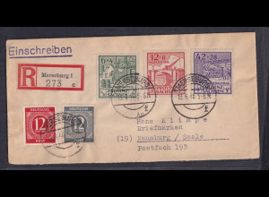 SBZ-Provin Sachsen R-Fernbrief mit Mi.-Nr. 87-89 u. a., Mi.-Nr. 88 PF. VIII