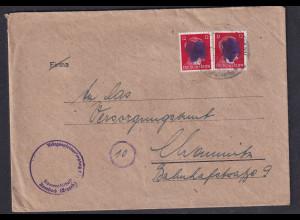 SBZ., Säch. Schwärzung, Fernbrief mit Me.F. AP. 827 Von Auebach.