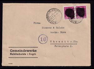 SBZ., Säch. Schwärzung, Fernbrief mit Me.F. AP. 785 Von Schönheide