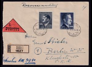 DR + B&M R-Nachnahme-Brief mit Misch-Fr. DR.Mi.-Nr. 802 A + B&M Mi.-Nr. 110