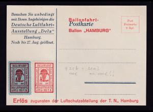 DR. Halbamtliche Flugmarken Mi.-Nr. 21 b + 21 a I auf Ballonfart-Karte.