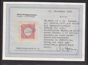 DR, EF. Mi.-Nr. 19 , mit Bahnpoststempel an prominente Adresse Befund, SommerBPP