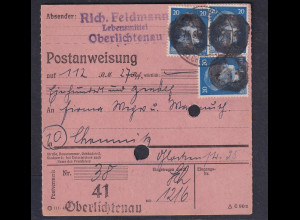 SBZ., Säch. Schwärzung, Postanweisung mit Me.F. AP. 791 von Oberlichtenau