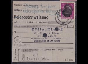 SBZ., Säch. Schwärzung, Postanweisung mit EF. AP. 795 von Olbernhau