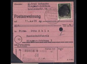 SBZ., Säch. Schwärzung, Postanweisung mit EF. AP. 794 von Siegmar-Schönau