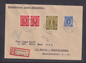 All.Besetzung, R-Orstbrief mit Rückschein Mi-Nr. 917(2), 937 Befund SchlegelBPP