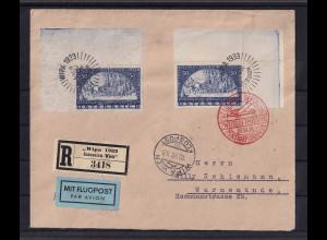 Österreich, Mi.-Nr. 555 A + 556 A auf R-Luftpost-Ausland-Brief.