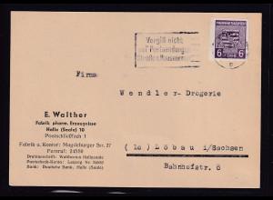 SBZ. Provin Sachsen, Fernkarte mit EF. Mi.-Nr. 69 Xb, sign. Dr.JaschBPP.