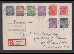 SBZ, R-Fernbrief mit Mi.-Nr. 66-71