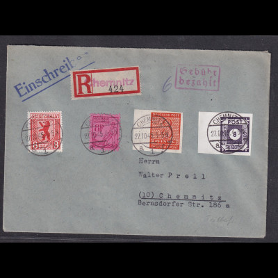 SBZ., R-Ortsbrief mit Teilbar-Frankatur , Sign. FindeisenBPP