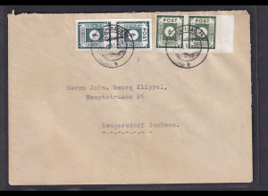 SBZ-Ost-Sachsen, Fernbrief mit Mi.F. Mi.-Nr. 2 x 43 B I + 2 x 43 B IIb