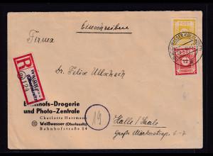 SBZ-Ost-Sachsen R-Fernbrief mit Mi.F. Mi.-Nr. 60 b + 55, sign. KunzBPP: