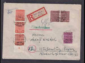 SBZ, Mi.-Nr. 77 y, 78 ya, 84 Xa auf R- Fernbrief mit Ak-St. geprüft Dr. jasch.