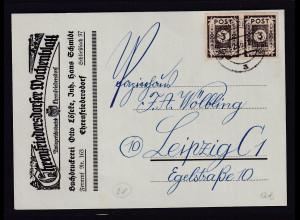 SBZ-Ost-Sachsen,Reklame-Karte Ehrenfriedersdorfer Wochenblatt mit MeF. Mi.-Nr.51