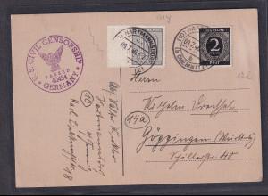 SBZ-West-Sachsen, Fernkarte mit Mi.-Nr. 131 Y + 912, US Zensur.