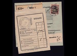 DR, Ausland-Paket-Karte mit EF. Mi.-Nr. 76