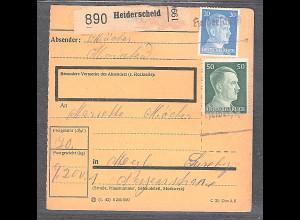 DR, Paket-Karte mit Not-Stempel Heiderscheid