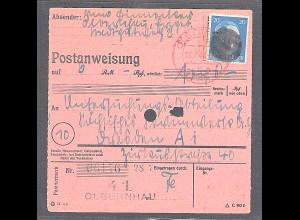 SBZ., Säch. Schwärzung, Postanweisung mit EF. AP. 791 von Olbernhau