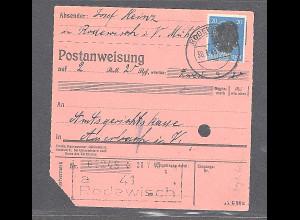 SBZ., Säch. Schwärzung, Postanweisung mit EF. AP. 791 von Rodewisch