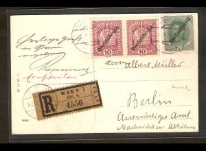 R-Postkarte aus Wien nach Berlin mit AK-St.