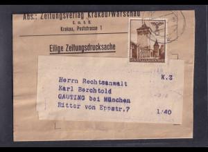 GG., Zeitungsdrucksache/Streifband mit EF. Mi.-Nr. 40