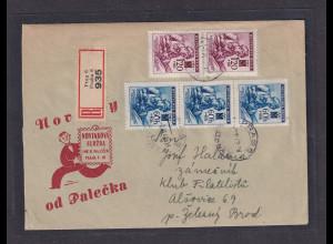 B&M., R-Fernbrief auf Werbe-Umschlag mit Mi.-Nr. 62 + 62