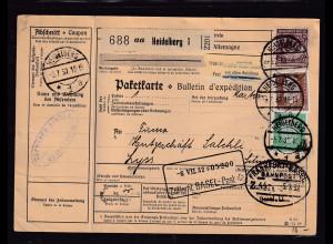 DR.,Ausland-Paketkarte mit MiF, Mi.-Nr. 343, 422 u.a.