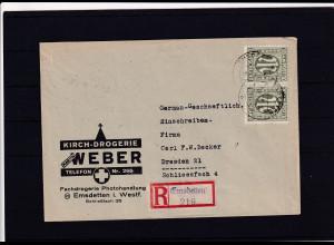 Bizone, AM Post R-Fernbrief mit MeF. Mi.-Nr. 17 aA oN + 19 aC, sign. HettlerBPP