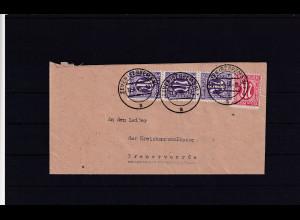 Bizone, AM Post Fernbrief mit MiF. Mi.-Nr. 8 z + 3 x 17 bA