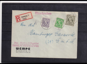 Bizone, AM Post R-Ortsbrief mit MiF. Mi.-Nr. 17 aD + 19 A + 30 aB, sign. Hettler