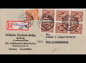 Bizone, AM Post , R-Fernbrief mit MiF. 10 A + 925, sign. HettlerBPP.
