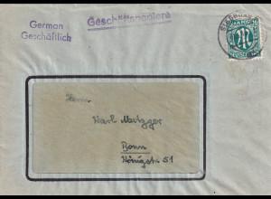 Bizone, AM Post Fernbrief mit EF. Mi.-Nr. 25 A. sign. HettlerBPP