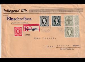 Bizone, AM Post R-Fernbrief gegen Rückschein mit MiF Mi.-Nr. 29 Aa+ 32 Bb+ 32 Aa