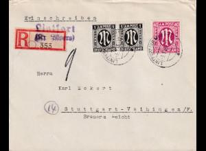 Bizone, AM Post R-Fernbrief mit MiF. Mi.-Nr. 2 x 16 B + 30 aA, sign.HettlerBPP.