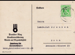 Bizone, AM Post Ortskarte mit EF. Mi.-Nr. 19 B, sign. HettlerBPP.