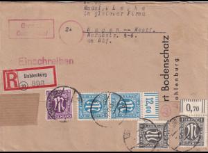 Bizone, AM PostR-Fernbrief mit MiF. Mi.-Nr. 2x 16B + 2x26 Ca + 15Bb