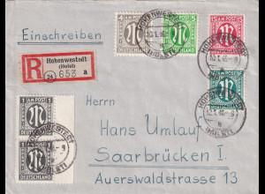 Bizone, AM Post R-Fernbrief mit MiF. Mi.-Nr. 2x 16 D u.a.