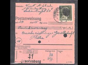 SBZ., Säch. Schwärzung, Postanweisung mit EF. AP. 794 von Frankenberg