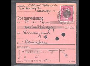 SBZ., Säch. Schwärzung, Postanweisung mit EF. AP. 795 von Frankenberg