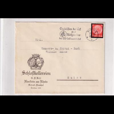 DR. Reklamebrief, Schlosskellereien B.H Kehl, Nierstein am Rhein.