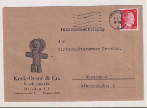 DR. Reklamebrief, Kork-Fabrik, Kork-Oeser & CO. Dresden