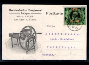 Reklame-Karte, Machinenfabrik u. Eisengiesserei Ködel & Böhm Lauingen