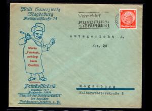 Reklame-Brief, Feinkostfabrik, Willi Sauerzweig, Magdeburg