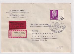 DDR. R-Eilbote-Fernbrief mit MiF. Mi.-Nr. 847 + KB. 1426-1431