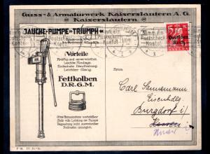 Reklame-Karte, Guss- & Armaturwerk Kaiserlautern A. G.