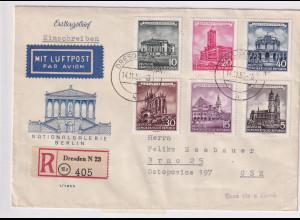 DDR. FDC , Mi.-Nr. 491-496 als R-Auslandbrief gelaufen.