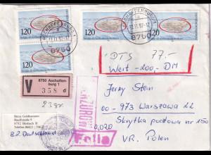 Bund, Ausland-Wertbrief mit Me.F. Mi.-Nr. 1144